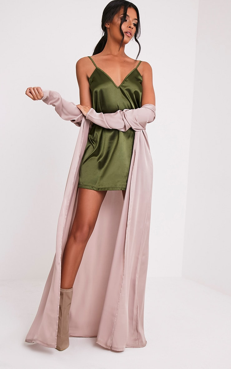 Erin Olive Plunge Satin Slip Dress 5