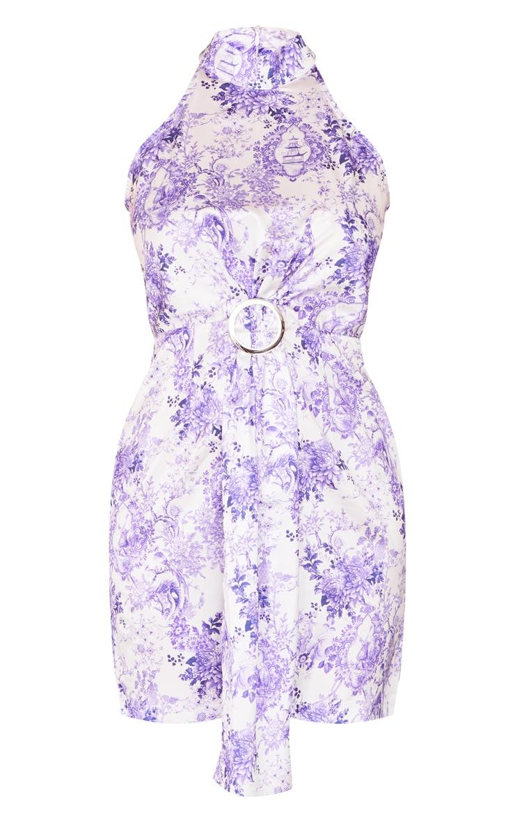 Lilac Porcelain Satin High Neck Ring Detail Drape Bodycon Dress 5