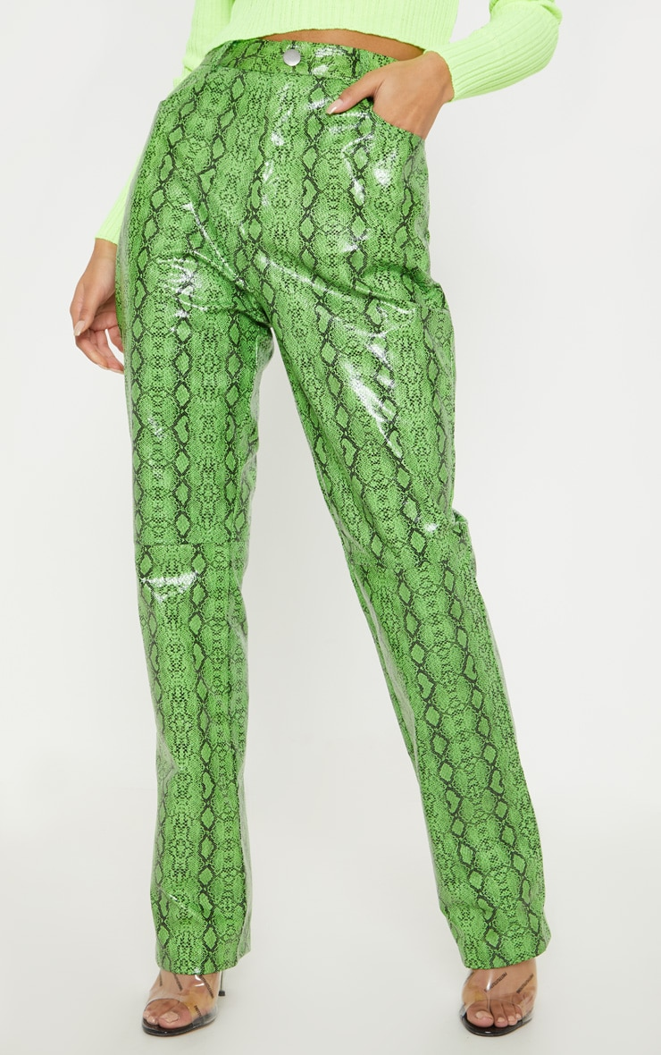 Green Faux Leather Snakeskin Straight Leg Pants 2