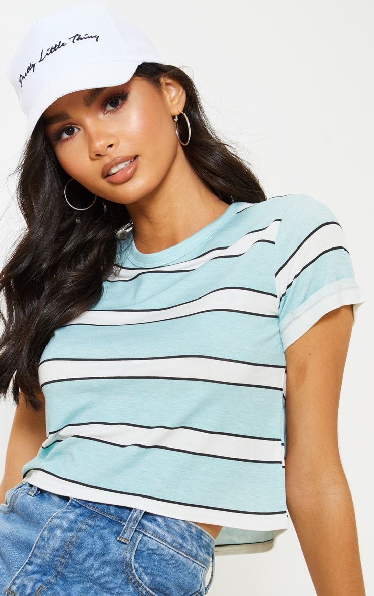 Basic Blue Stripe Roll Sleeve Crop T Shirt  5