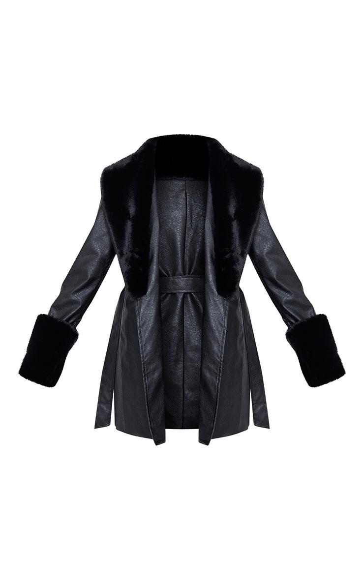 Black PU Detachable Faux Fur Mini Trench 5