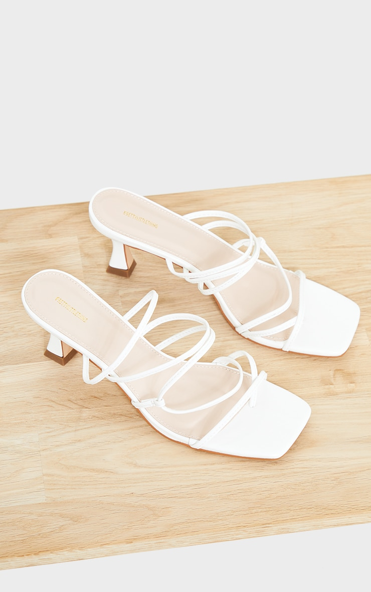 White Low Flare Heel Strappy Mules 3