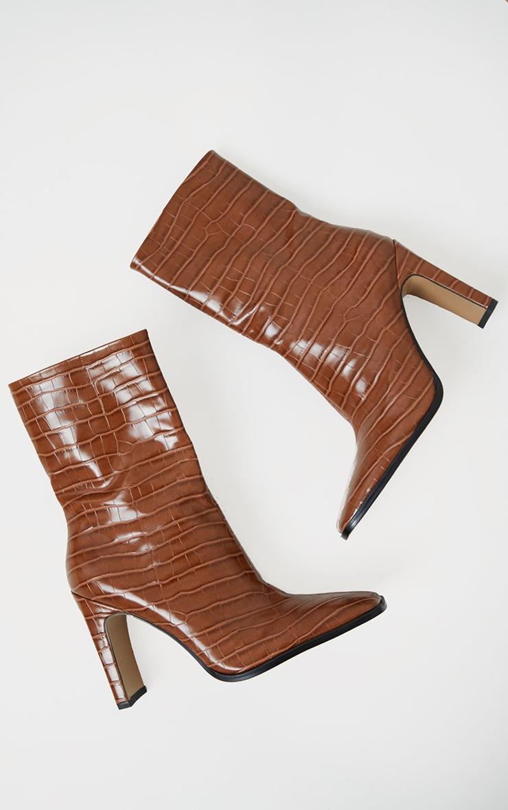 Tan PU Snake Flat Heeled Ankle Boots 3