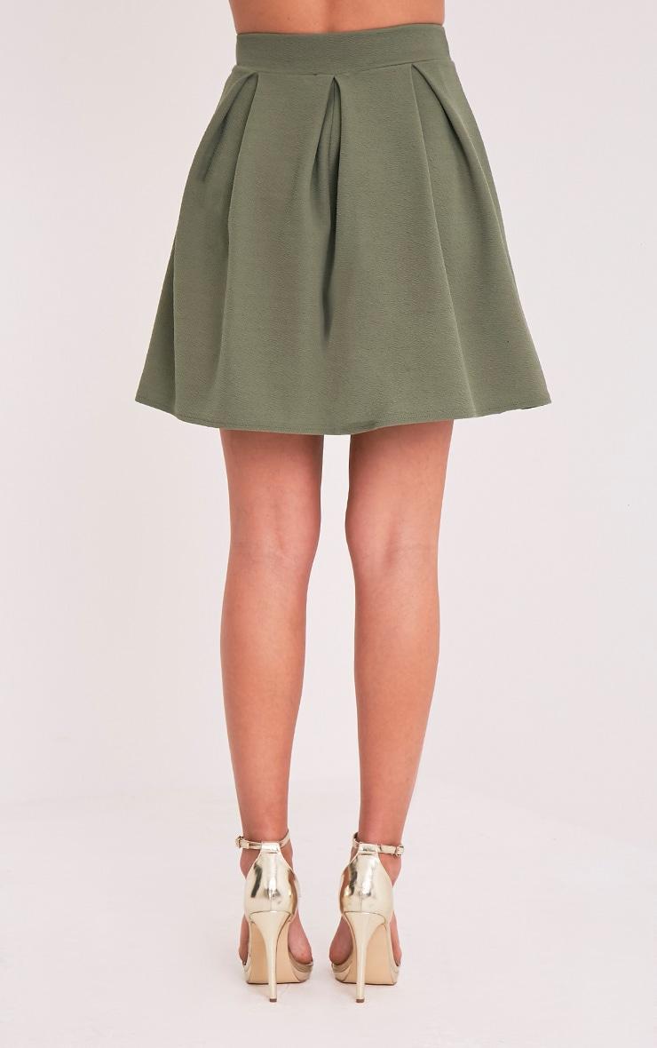 Tyra Khaki Box Pleat Full Mini Skirt 5
