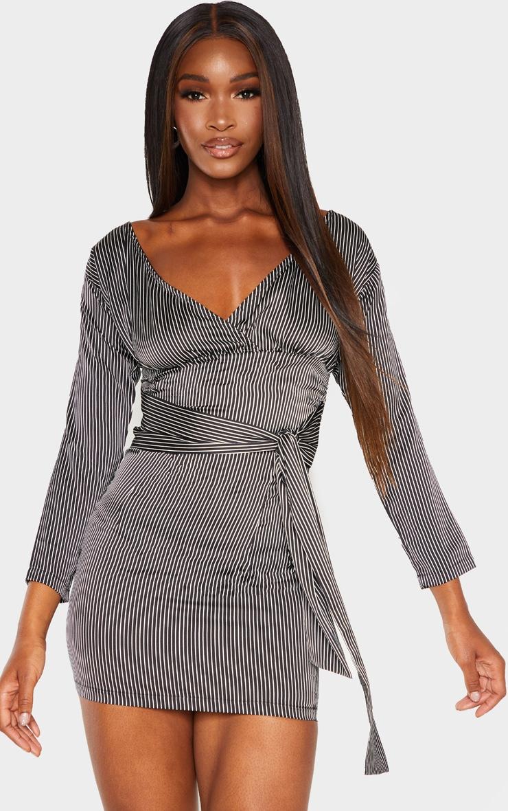 Black Stripe Bardot Ruched Wrap Bodycon Dress 1