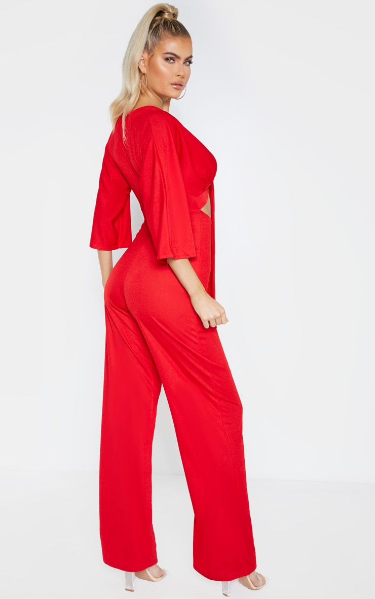 Tall Red Crepe Batwing Cut Out Jumpsuit 2