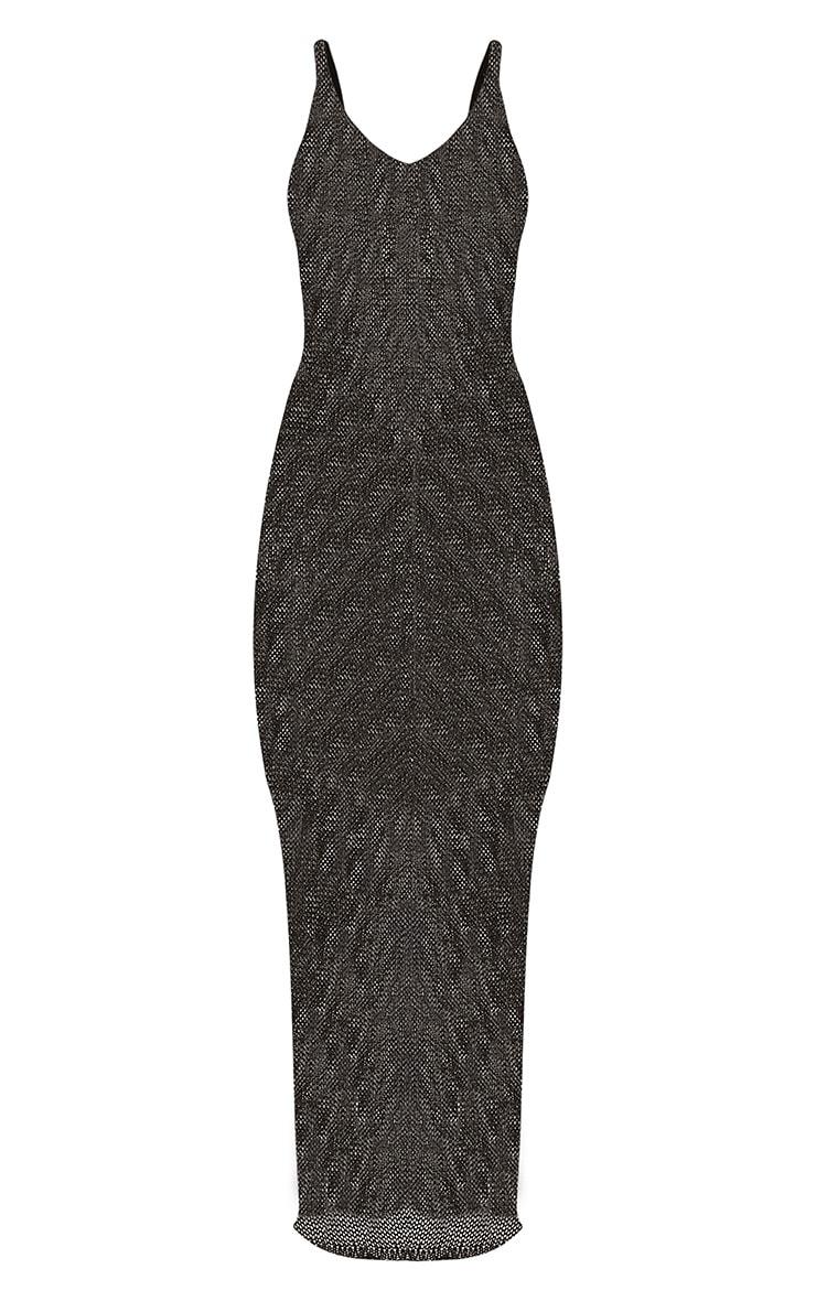 Denika robe maxi tricotée métallisée noire 3