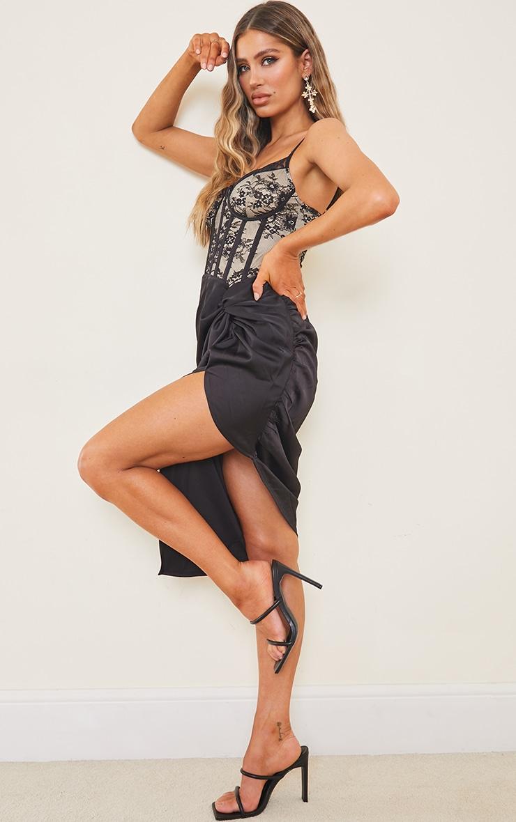 Black Strappy Lace Insert Satin Gathered Midi Dress 3