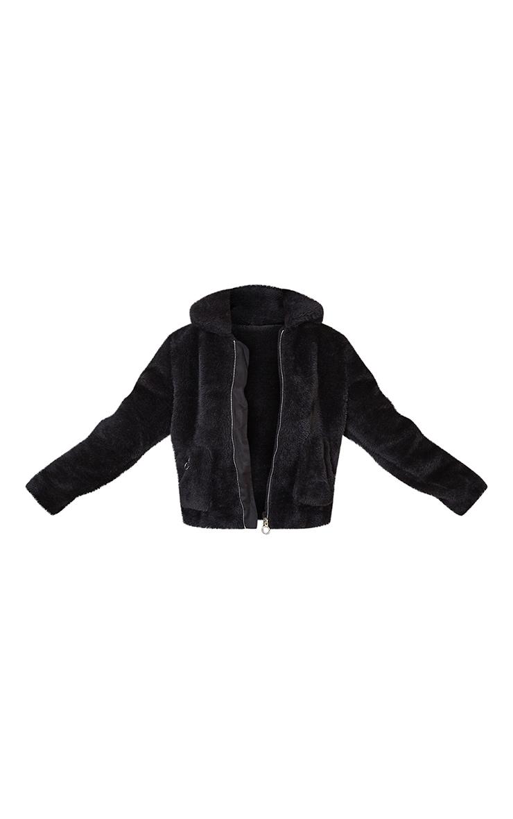Black Teddy Faux Fur Pocket Front Jacket 5