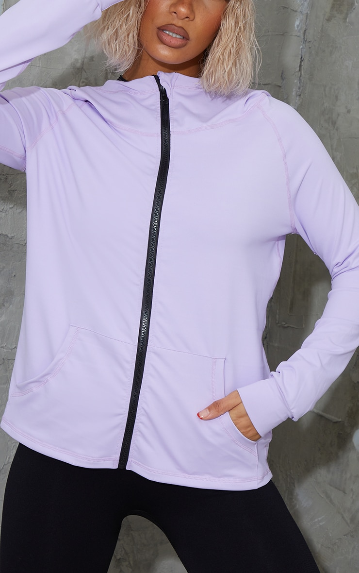 Lilac Zip Through Hooded Gym Top 4