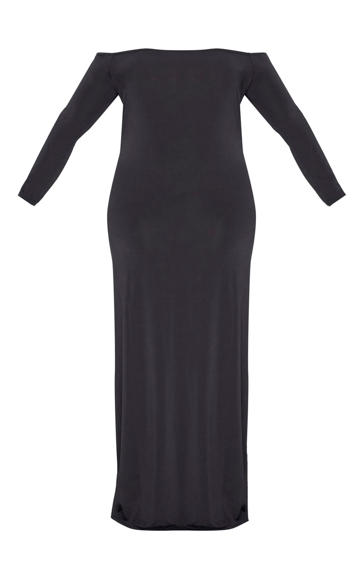 Plus Black Slinky Bardot Maxi Dress 3