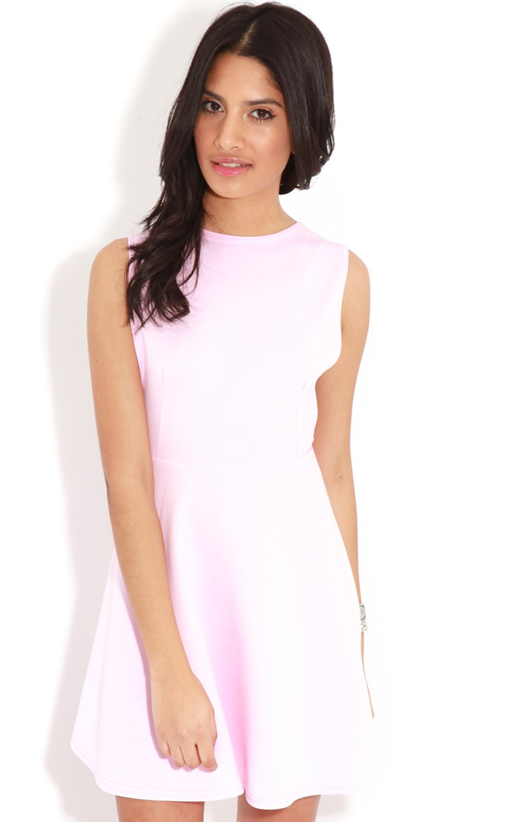 Arianna Pink Scuba Side Slit Skater Dress 1