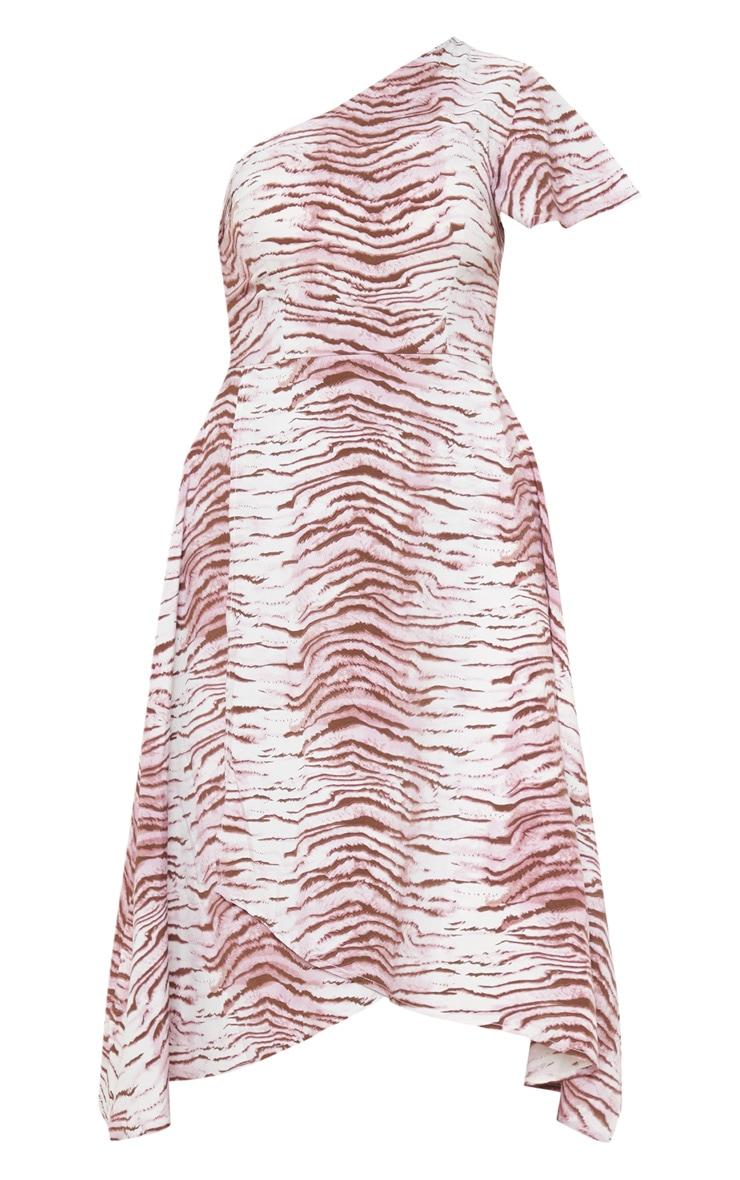 Lilac Animal Print Ruffle One Shoulder Midi Dress 3