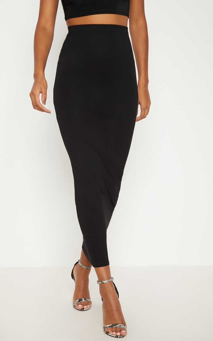 Black Basic Maxi Skirt 2