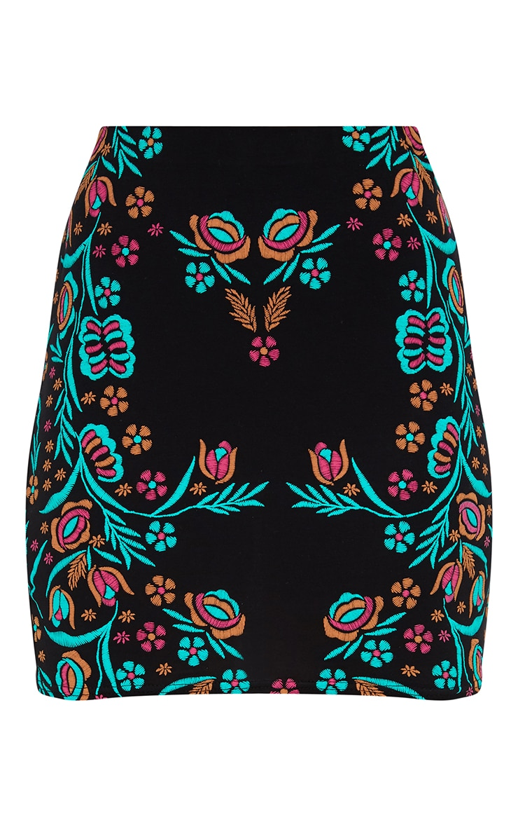 Black Placement Embroidery Print Mini Skirt 3