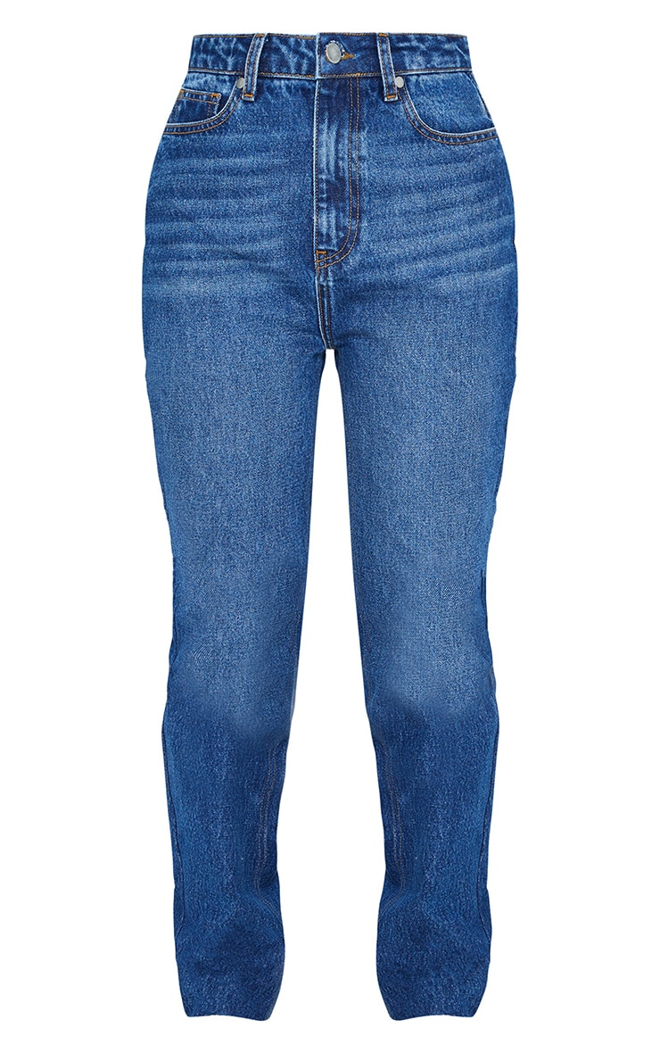 Mid Blue Wash High Waisted Straight Leg Jeans 5