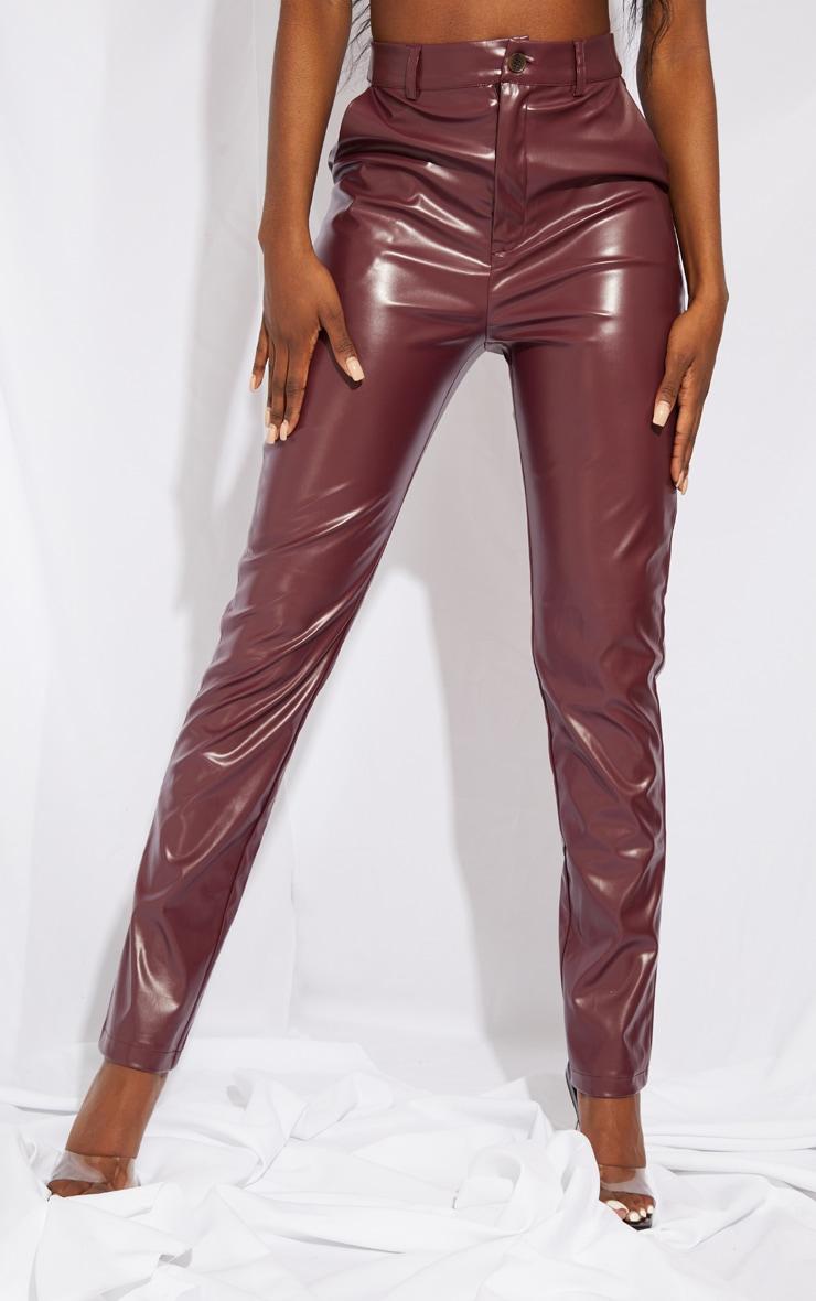 Tall Burgundy PU Pants 2