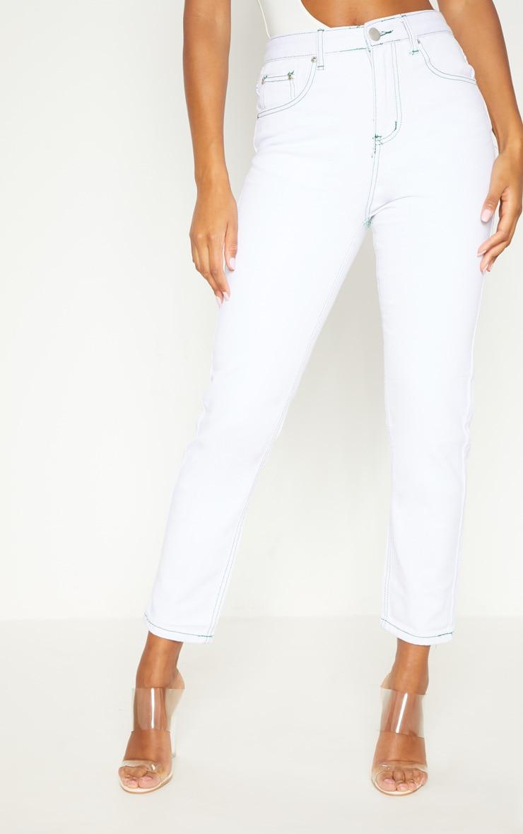 White Contrast Stitch Mom Jean 2