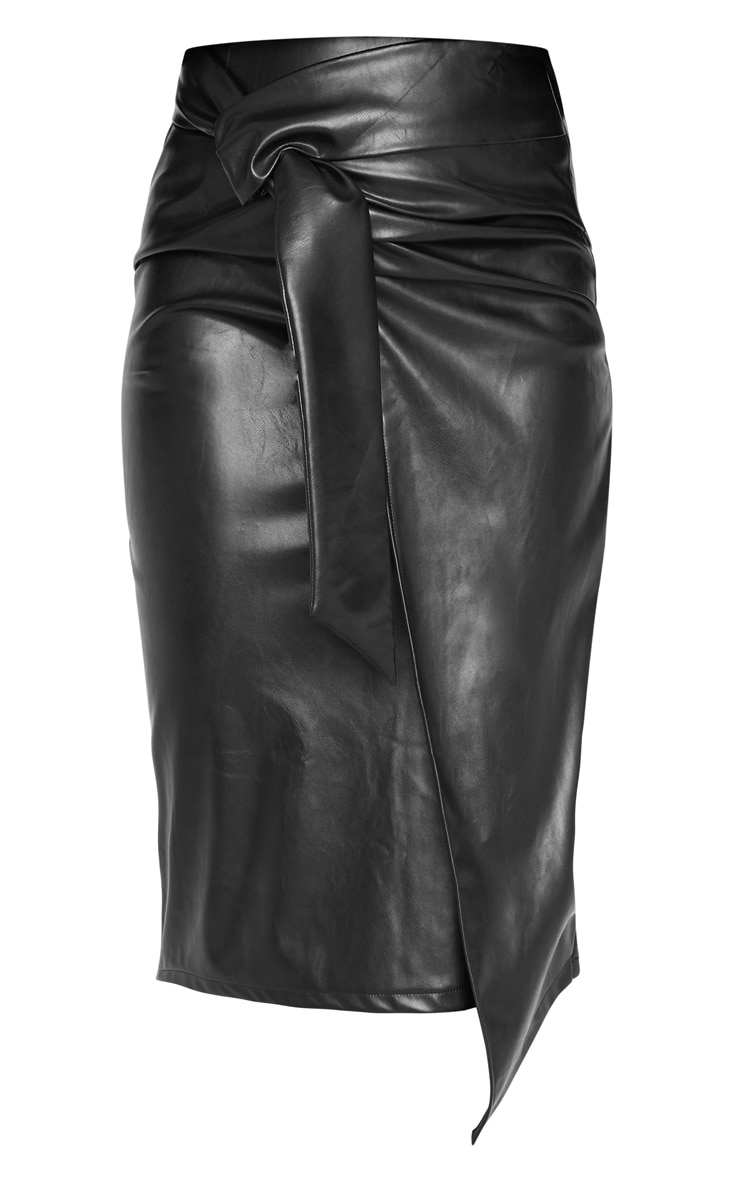 Black Faux Leather Drape Front Midi Skirt  3