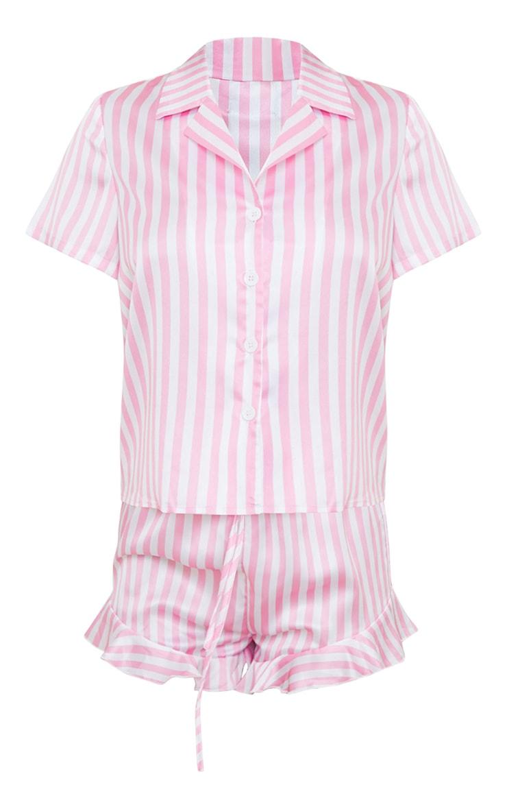 Pink Candy Stripe Satin Shirt And Ruffle Short Pj Set 5
