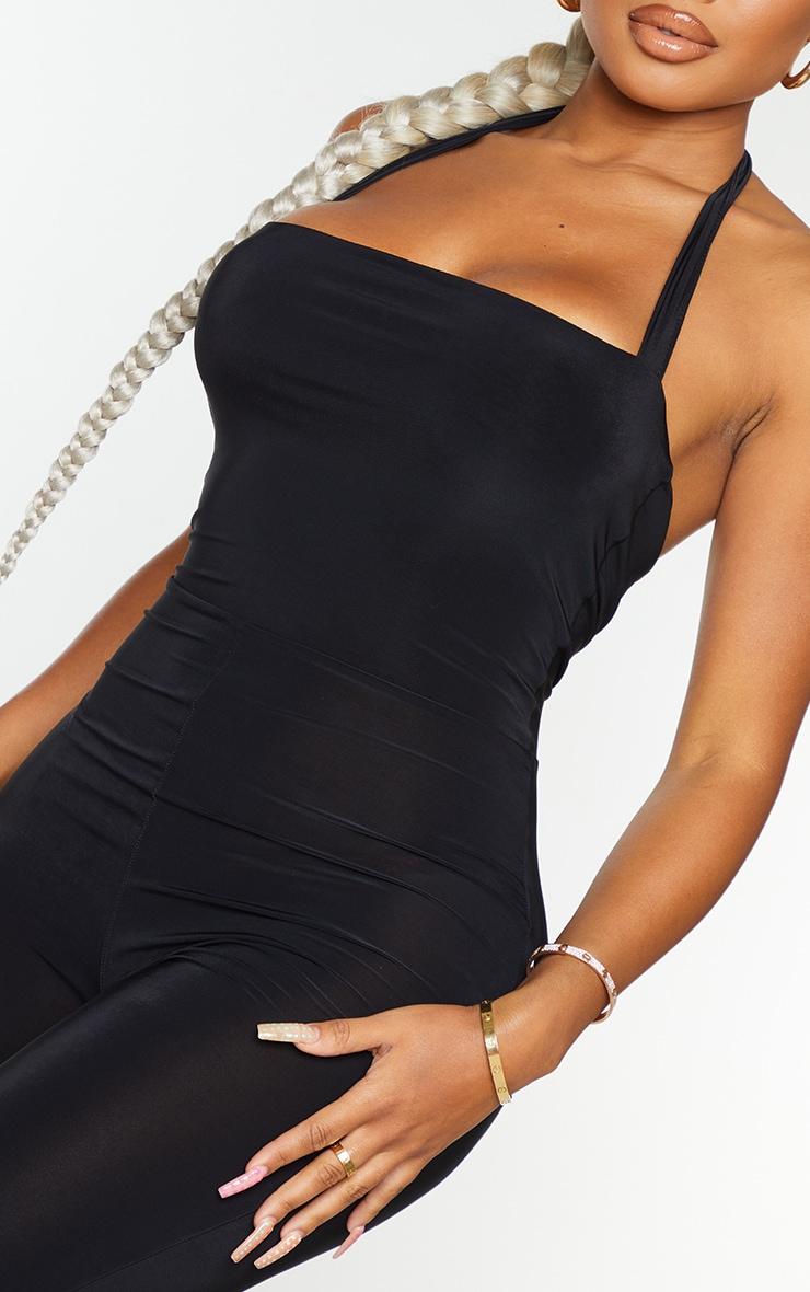 Shape Black Slinky Wrap Neck Detail Jumpsuit 4
