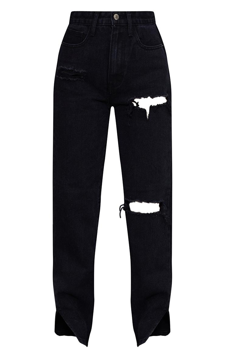 Petite Black Distressed Split Hem Jeans 5