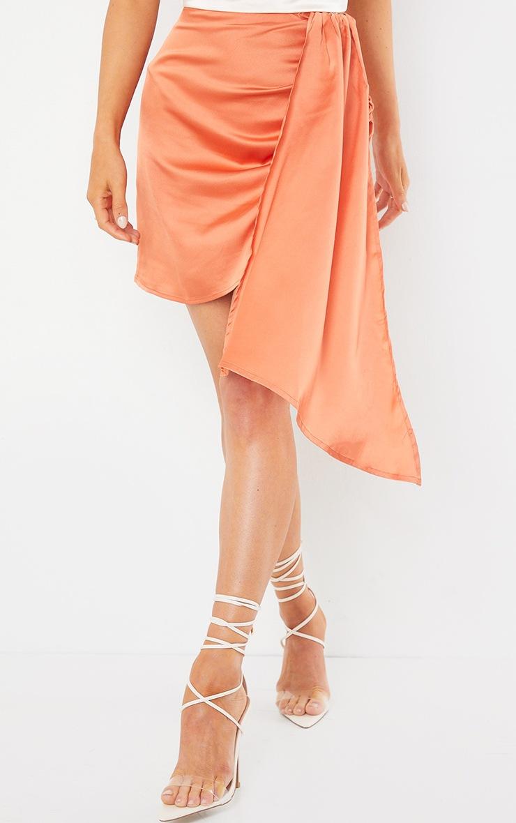 Orange Satin Drape Side Mini Skirt 3