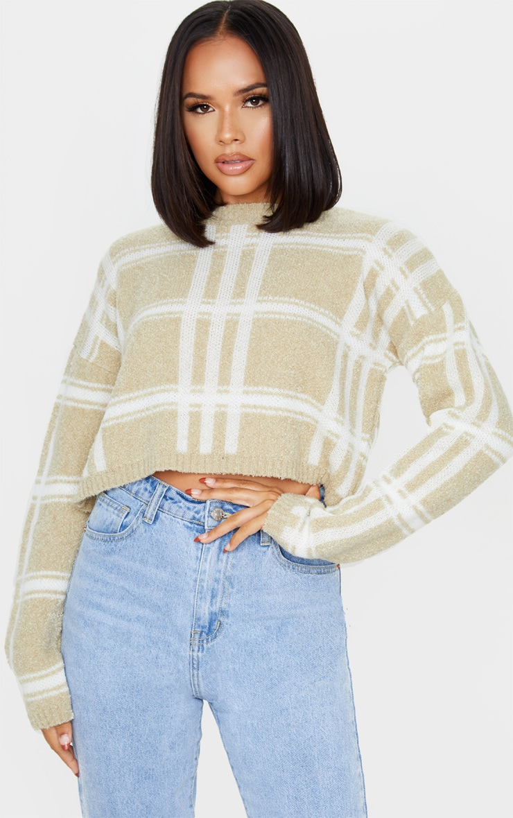 Stone Check Boucle Cropped Jumper 1