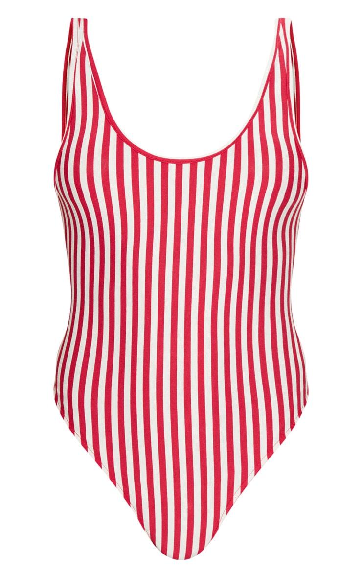 Red Scoop Neck Stripe Bodysuit 3