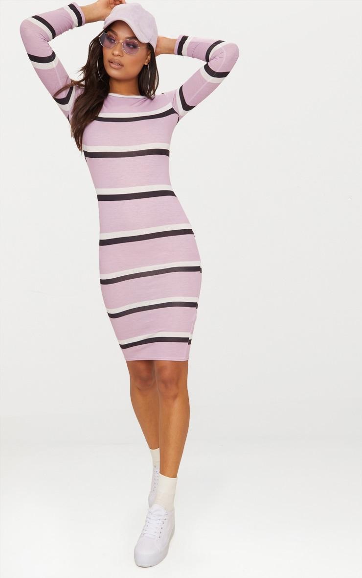 a5ad5584 Lilac Striped Long Sleeve Midi Tshirt Dress | PrettyLittleThing