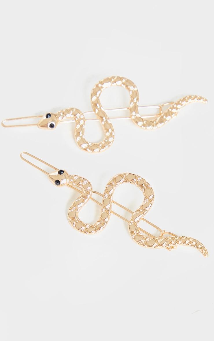 Gold Snake Hair Slide 2 Pack 2