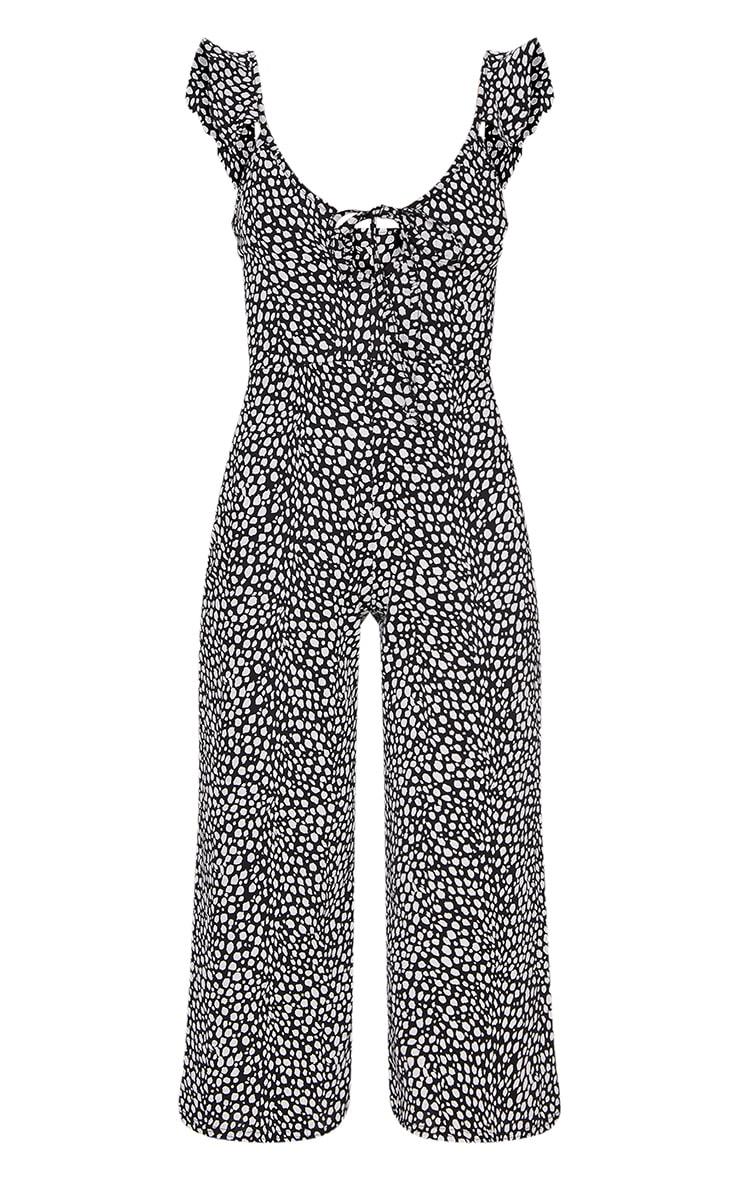 Black Dalmatian Print Frill Shoulder Culotte Jumpsuit 5
