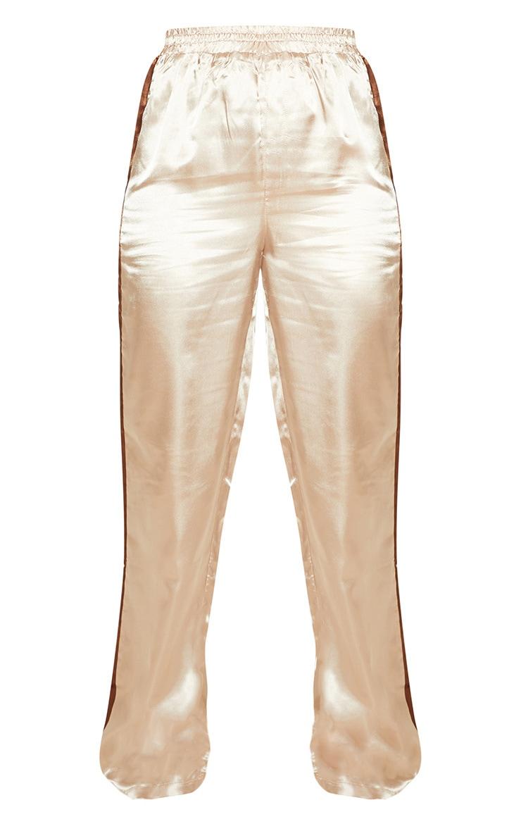 Nude Satin Contrast Stripe Cuff Joggers 3