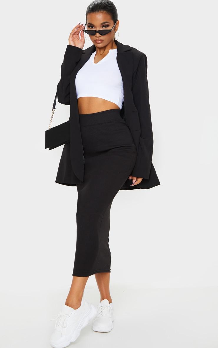 Black Structured Rib Bodycon Midaxi Skirt 1