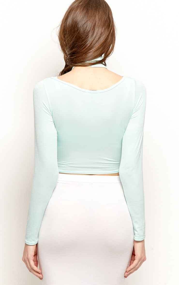Jenna Mint Roll Neck Cut Out Crop Top  2