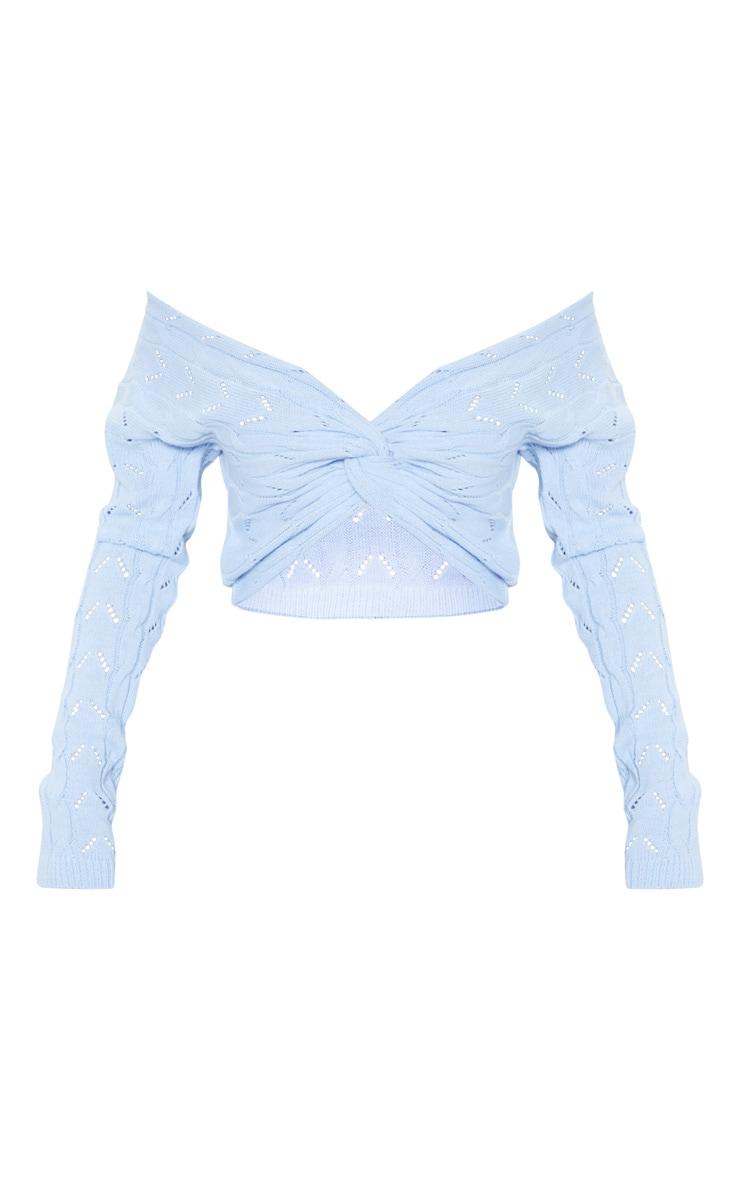 Baby Blue Open Knit Twist Front Sweater 3