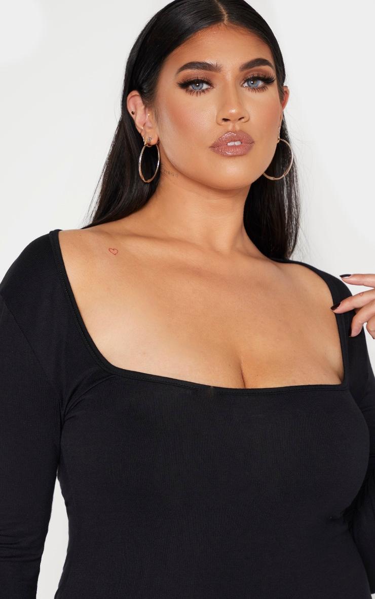 Plus Black Jersey Long Sleeve Midi Dress 5