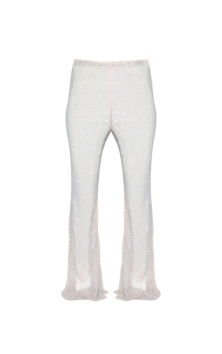 Baby Pink Diamante Fishnet Flare Trousers 6