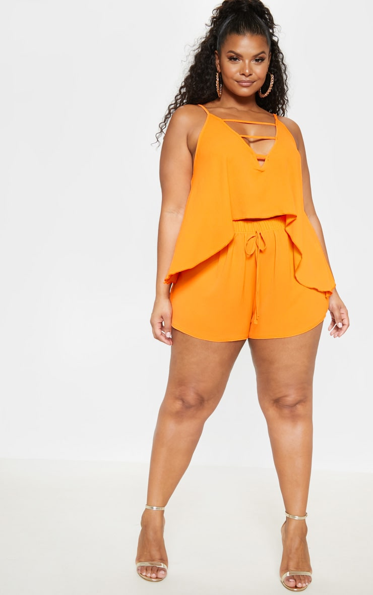 Plus Bright Orange Drawstring Shorts  5