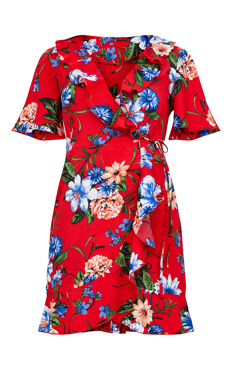 Red Floral Wrap Dress 3