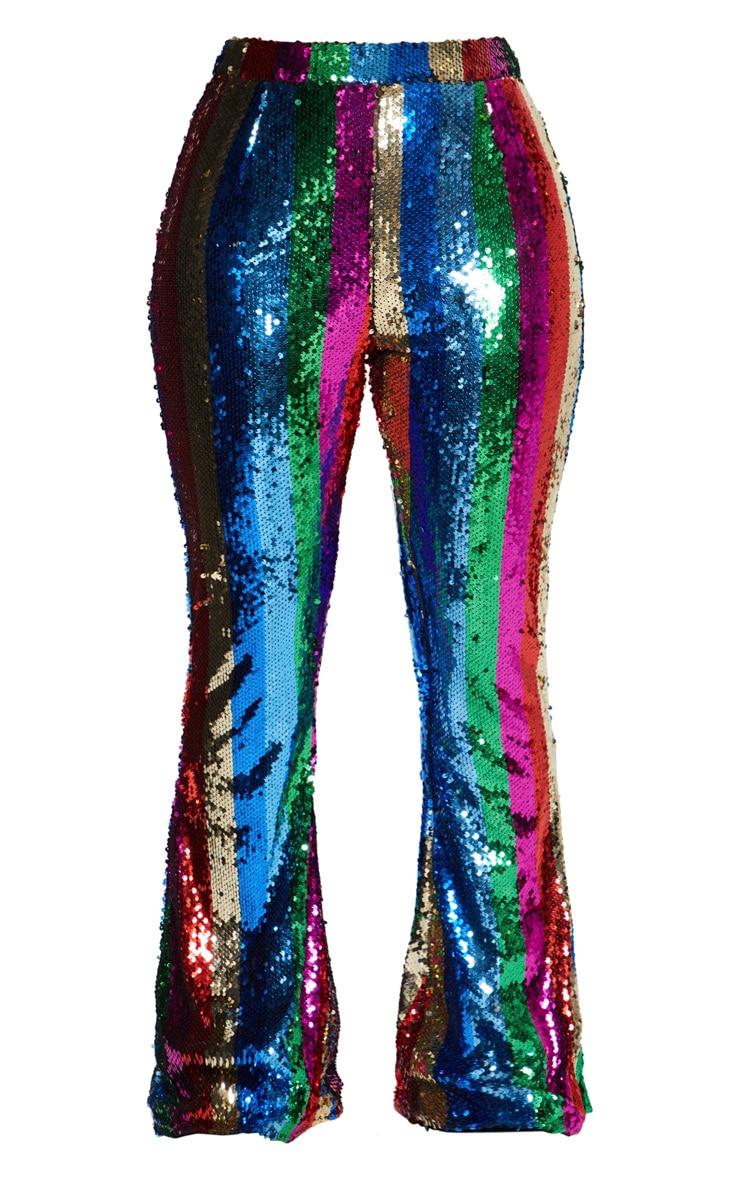 multi rainbow sequin flared pants