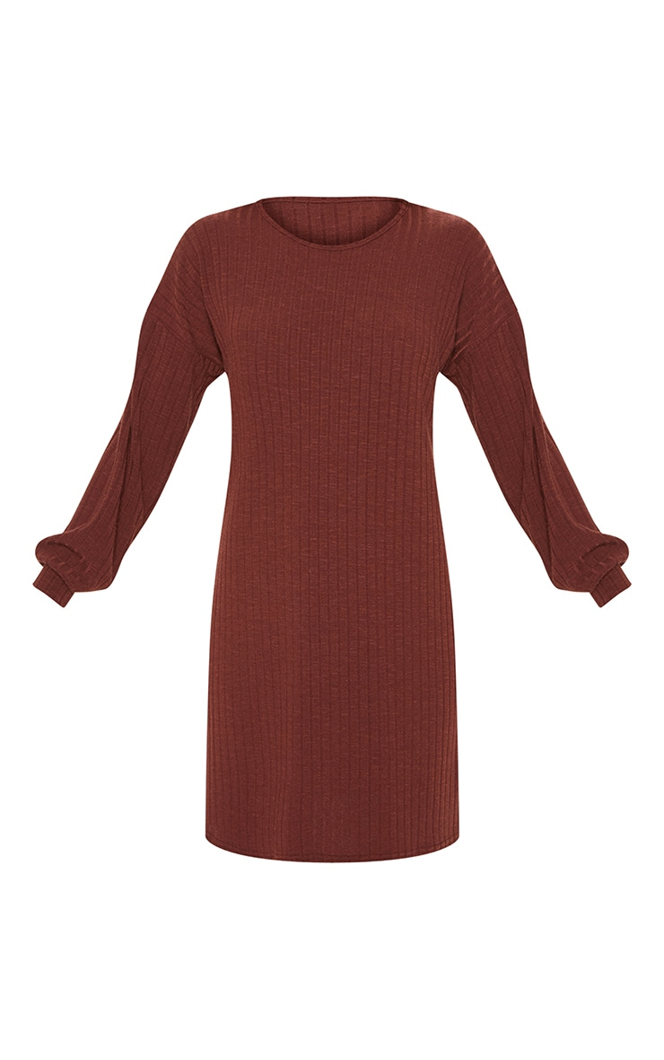 Chocolate Wide Ribbed Oversized Jumper Dress 3