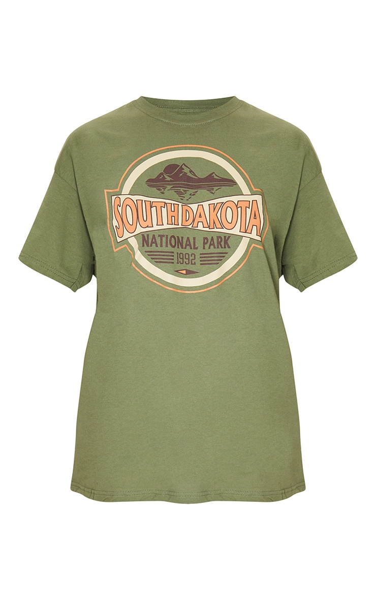 Khaki South Dakota Printed T Shirt 5