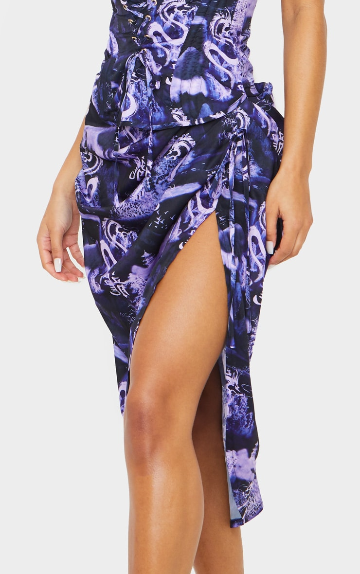 Lilac Dragon Print Ruched Tie Side Midi Skirt 4
