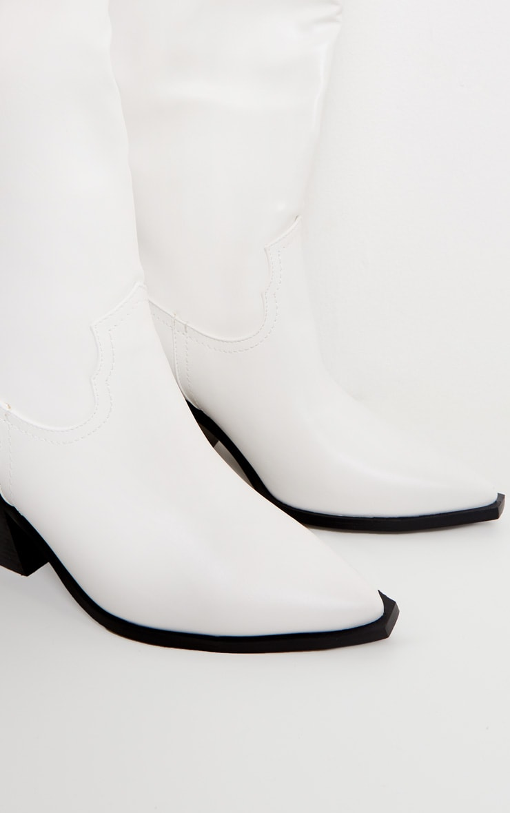 White Mid Calf Western Boot 3