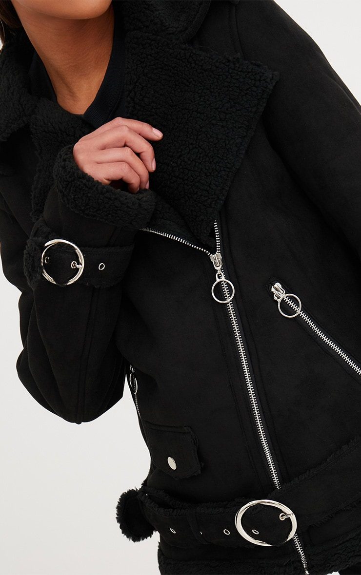Black Ring Pull Faux Suede Aviator Coat 5