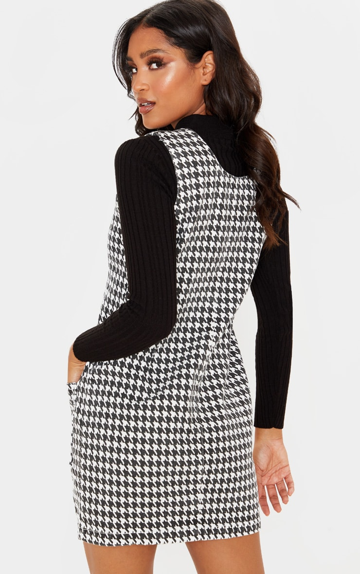 Monochrome Houndtooth Check Denim Mini Dress  2