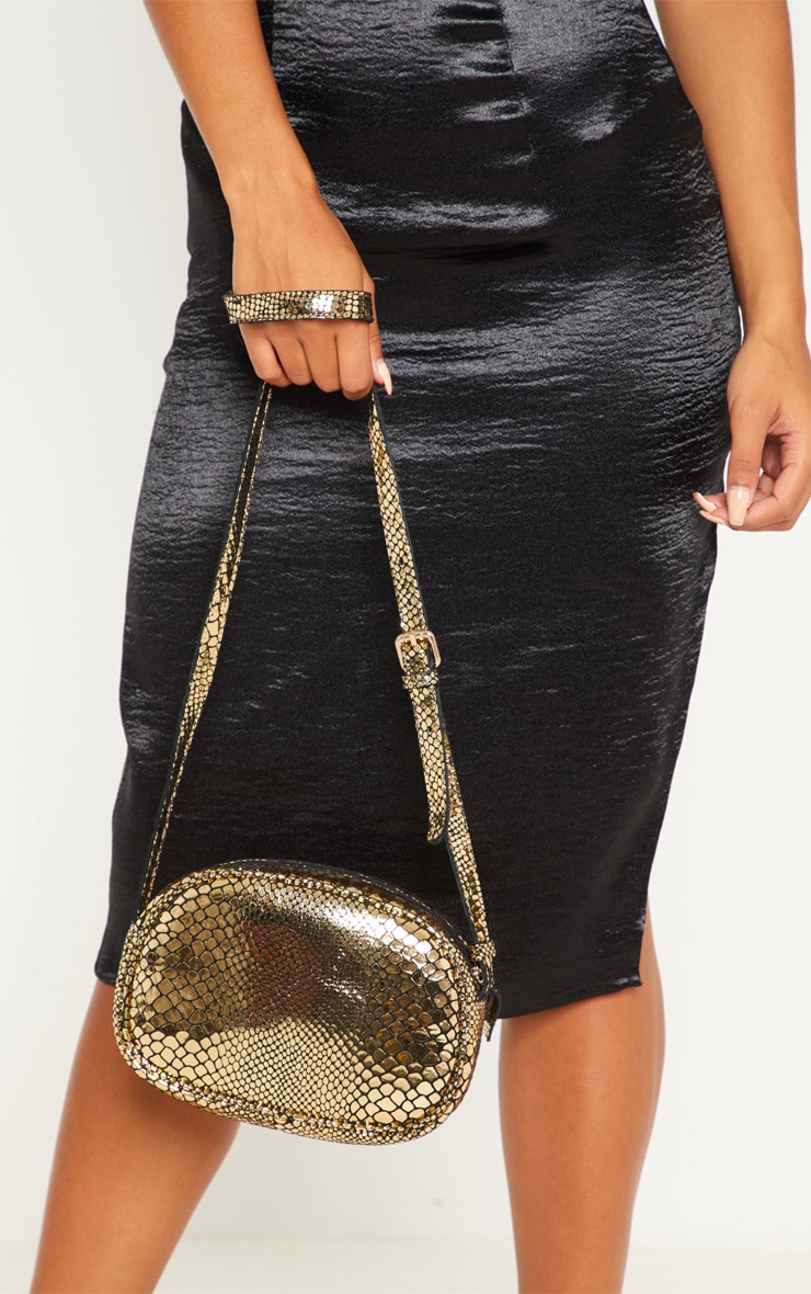 Gold Real Leather Croc Cross Body Bag 2