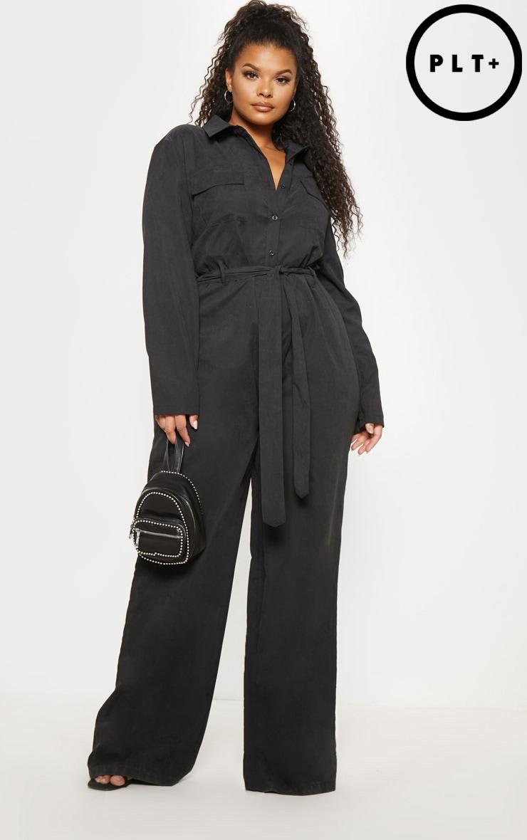Plus Black Faux Suede Button Front Wide Leg Jumpsuit  1