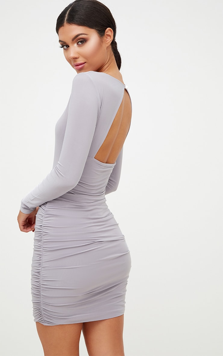 Online ruched back bodycon dress